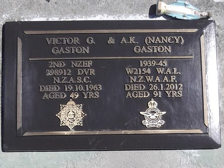 Headstone of WAL Antoinette Kathleen GASTON W2154. Andersons Bay RSA Cemetery, Dunedin City Council, Block 45S177. Image kindly provided by Allan Steel CC-BY 4.0.