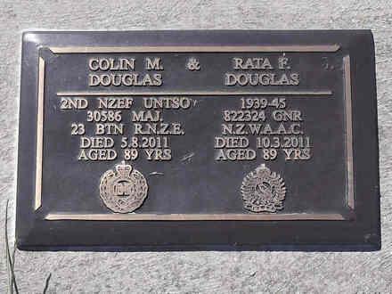 Headstone of Major Colin Moffat DOUGLAS 30586. Greenpark RSA Cemetery, Dunedin City Council, Block 1A387. Image kindly provided by Allan Steel CC-BY 4.0.