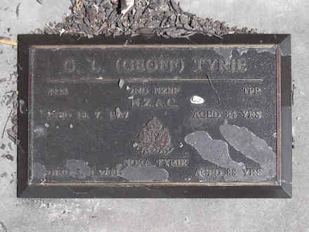 Headstone of Tpr Geoffrey Liddell TYRIE 8444. Andersons Bay RSA Cemetery, Dunedin City Council, Block 22A, Plot 5. Image kindly provided by Allan Steel CC-BY 4.0.