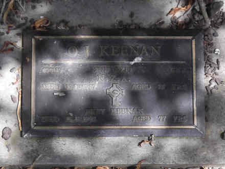 Headstone of Gnr Oliver John KEENAN 498119. Andersons Bay RSA Cemetery, Dunedin City Council, Block 22A22. Image kindly provided by Allan Steel CC-BY 4.0.