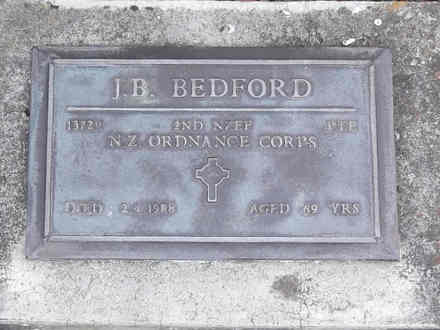 Headstone of Pte Jack Barrett BEDFORD 13729. Andersons Bay RSA Cemetery, Dunedin City Council, Block 22A, Plot 54. Image kindly provided by Allan Steel CC-BY 4.0.