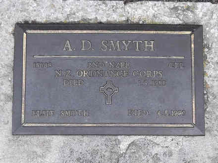 Headstone of Cpl Alfred Dingwall SMYTH 15688. Andersons Bay RSA Cemetery, Dunedin City Council, Block 22A90. Image kindly provided by Allan Steel CC-BY 4.0.