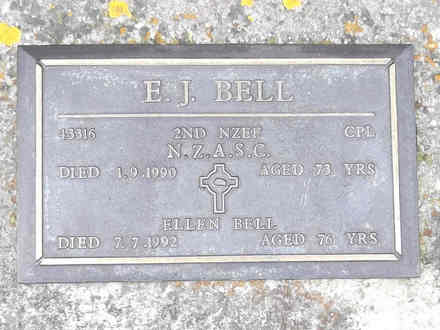 Headstone of Cpl Eric James BELL 43316. Andersons Bay RSA Cemetery, Dunedin City Council, Block 22A, Plot 214. Image kindly provided by Allan Steel CC-BY 4.0.