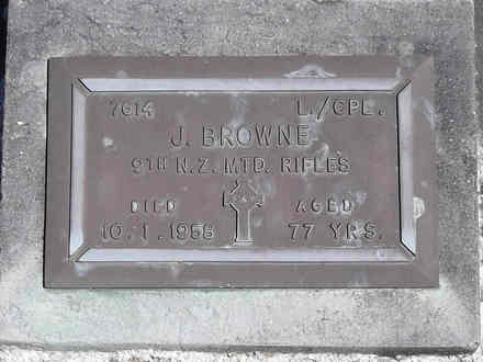 Headstone of L/Cpl Joseph Edward BROWNE 7614. Andersons Bay RSA Cemetery, Dunedin City Council, Block 25S, Plot 11. Image kindly provided by Allan Steel CC-BY 4.0.