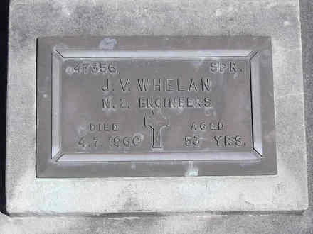Headstone of Spr James Vincent WHELAN 47356. Andersons Bay RSA Cemetery, Dunedin City Council, Block 27S, Plot 17. Image kindly provided by Allan Steel CC-BY 4.0.