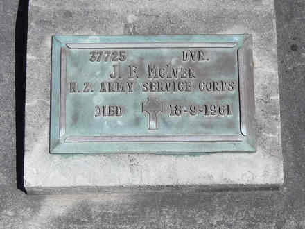 Headstone of Dvr John Farquhar MCIVER 37725. Andersons Bay RSA Cemetery, Dunedin City Council, Block 28S, Plot 7. Image kindly provided by Allan Steel CC-BY 4.0.