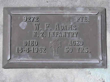 Headstone of Pte William Francis ADAMS 9272. Andersons Bay RSA Cemetery, Dunedin City Council, Block 34S, Plot 12. Image kindly provided by Allan Steel CC-BY 4.0.