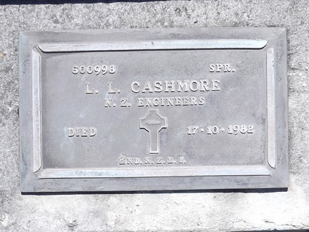 Headstone of Spr Lorimer Lindsay CASHMORE 500998. Andersons Bay RSA Cemetery, Dunedin City Council, Block 3A, Plot 23. Image kindly provided by Allan Steel CC-BY 4.0.