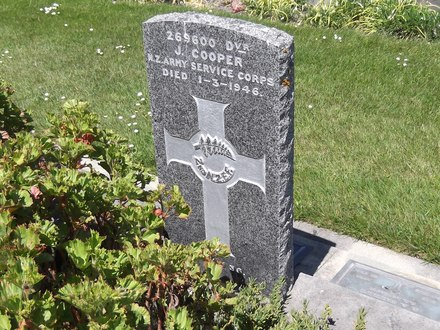 Headstone of Dvr James COOPER 269600. Andersons Bay RSA Cemetery, Dunedin City Council, Block 6SF10. Image kindly provided by Allan Steel CC-BY 4.0.