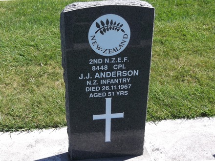 Headstone of Cpl John Joseph ANDERSON 8448. Andersons Bay RSA Cemetery, Dunedin City Council, Block 70S, Plot 30. Image kindly provided by Allan Steel CC-BY 4.0.