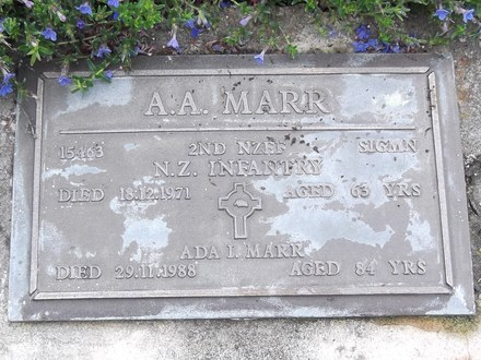 Headstone of Sigmn Arthur Archibald MARR 15463. Andersons Bay RSA Cemetery, Dunedin City Council, Block 78S, Plot 12. Image kindly provided by Allan Steel CC-BY 4.0.