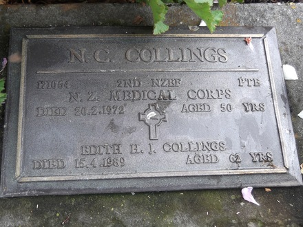 Headstone of Pte Noel Charles COLLINGS 171064. Andersons Bay RSA Cemetery, Dunedin City Council, Block 78S, Plot 17. Image kindly provided by Allan Steel CC-BY 4.0.