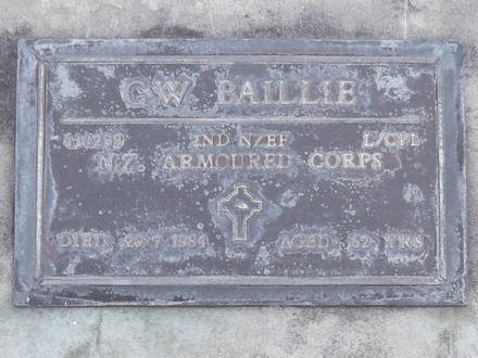 Headstone of L/Cpl Charles William BAILLIE 430233. Andersons Bay RSA Cemetery, Dunedin City Council, Block 01SF, Plot 12. Image kindly provided by Allan Steel CC-BY 4.0.