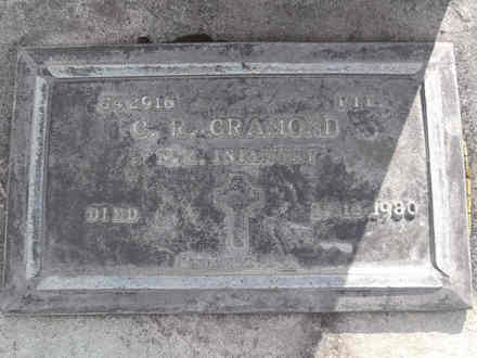 Headstone of Pte Cecil Ramage CRAMOND 542916. Andersons Bay RSA Cemetery, Dunedin City Council, Block 5A49. Image kindly provided by Allan Steel CC-BY 4.0.