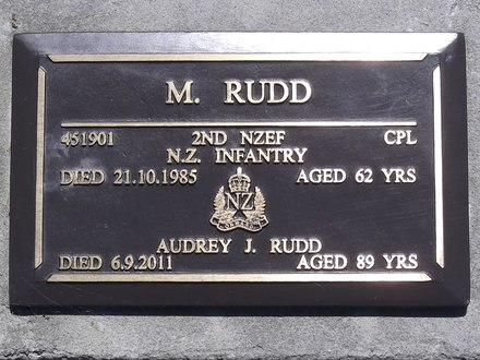 Headstone of Cpl Matthew RUDD 451901. Andersons Bay RSA Cemetery, Dunedin City Council, Block 15SC1. Image kindly provided by Allan Steel CC-BY 4.0.