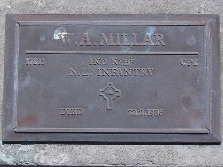 Headstone of Cpl William Arthur MILLAR 17213. Andersons Bay RSA Cemetery, Dunedin City Council, Block 15SC, Plot 10. Image kindly provided by Allan Steel CC-BY 4.0.