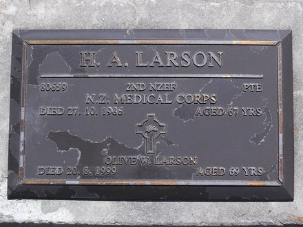 Headstone of Pte Harold Andrew LARSON 80659. Andersons Bay RSA Cemetery, Dunedin City Council, Block 16SC, Plot 10. Image kindly provided by Allan Steel CC-BY 4.0.
