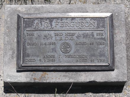 Headstone of Spr Alfred Graham FERGUSON 2441. Andersons Bay RSA Cemetery, Dunedin City Council, Block 20SC, Plot 1. Image kindly provided by Allan Steel CC-BY 4.0.