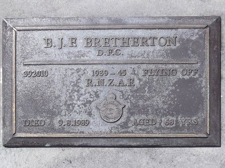Headstone of Fly Off Basil John Frances BRETHERTON 392010. Andersons Bay RSA Cemetery, Dunedin City Council, Block 20SC15. Image kindly provided by Allan Steel CC-BY 4.0.