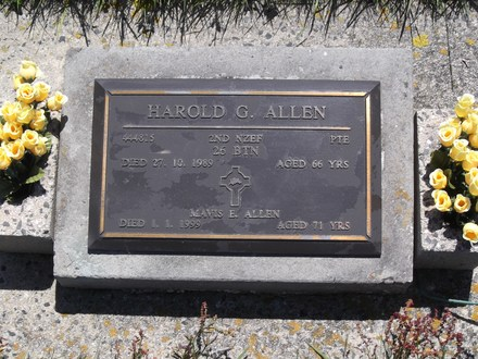 Headstone of Pte Harold George ALLEN 444815. Andersons Bay RSA Cemetery, Dunedin City Council, Block 20SC20. Image kindly provided by Allan Steel CC-BY 4.0.