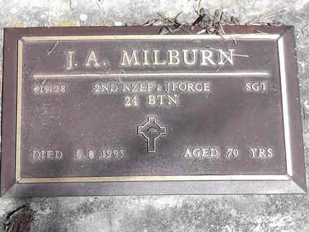 Headstone of Sgt James Alexander MILBURN 619128. Greenpark RSA Cemetery, Dunedin City Council, Block 1A, Plot 105. Image kindly provided by Allan Steel CC-BY 4.0.