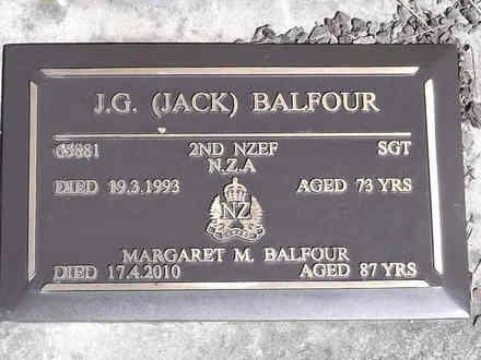 Headstone of Sgt John Garnet BALFOUR 65881. Greenpark RSA Cemetery, Dunedin City Council, Block 1A, Plot 112. Image kindly provided by Allan Steel CC-BY 4.0.