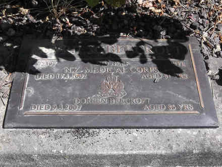 Headstone of Pte Cyril Raymond BEECROFT 72397. Greenpark RSA Cemetery, Dunedin City Council, Block 1A211. Image kindly provided by Allan Steel CC-BY 4.0.