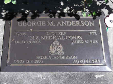 Headstone of Pte George Mirk ANDERSON 37805. Greenpark RSA Cemetery, Dunedin City Council, Block 1A294. Image kindly provided by Allan Steel CC-BY 4.0.