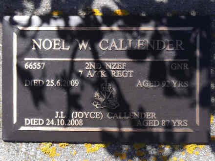 Headstone of Gnr Noel William CALLENDER 66557. Greenpark RSA Cemetery, Dunedin City Council, Block 1A, Plot 339. Image kindly provided by Allan Steel CC-BY 4.0.