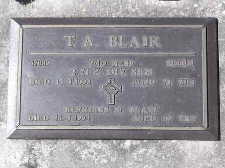 Headstone of Sigmn Thomas Andrews BLAIR 47089. Greenpark RSA Cemetery, Dunedin City Council, Block 1S26. Image kindly provided by Allan Steel CC-BY 4.0.
