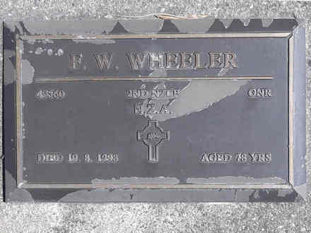 Headstone of Gnr Francis William WHEELER 49560. Greenpark RSA Cemetery, Dunedin City Council, Block 3A24. Image kindly provided by Allan Steel CC-BY 4.0.