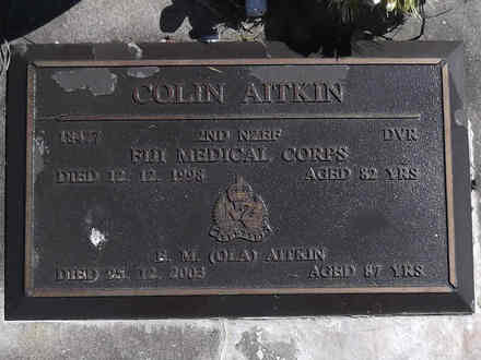 Headstone of Dvr Colin AITKIN 18477. Greenpark RSA Cemetery, Dunedin City Council, Block 3S, Plot 11. Image kindly provided by Allan Steel CC-BY 4.0.
