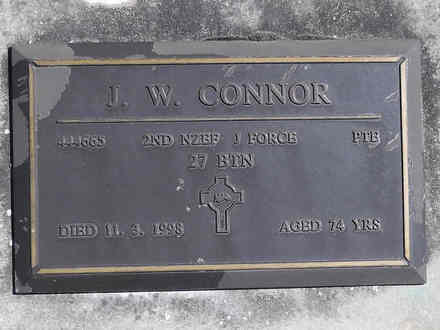 Headstone of Pte James Wilfred CONNOR 444665. Greenpark RSA Cemetery, Dunedin City Council, Block 3S, Plot 19. Image kindly provided by Allan Steel CC-BY 4.0.