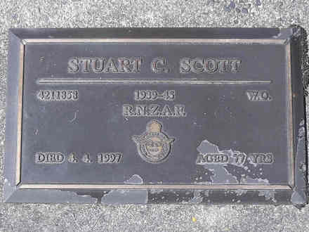 Headstone of WO Stuart Campbell SCOTT 4211858. Greenpark RSA Cemetery, Dunedin City Council, Block 4A, Plot 37. Image kindly provided by Allan Steel CC-BY 4.0.