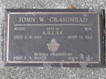 Headstone of WO  John Wilson CRAIGHEAD 417030. Greenpark RSA Cemetery, Dunedin City Council, Block 4A, Plot 48. Image kindly provided by Allan Steel CC-BY 4.0.