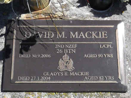 Headstone of L/Cpl David Milligan MACKIE 18963. Greenpark RSA Cemetery, Dunedin City Council, Block 4S8. Image kindly provided by Allan Steel CC-BY 4.0.