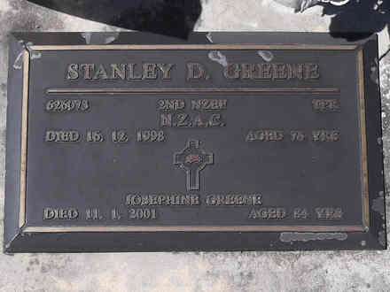 Headstone of Tpr Stanley Daniel GREENE 626073. Greenpark RSA Cemetery, Dunedin City Council, Block 4S25. Image kindly provided by Allan Steel CC-BY 4.0.