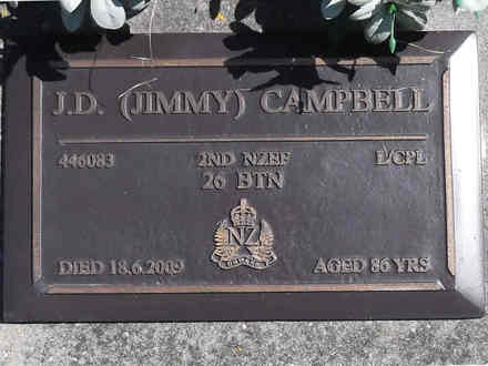 Headstone of L/Cpl James Davidson CAMPBELL 446083. Greenpark RSA Cemetery, Dunedin City Council, Block 5S4. Image kindly provided by Allan Steel CC-BY 4.0.