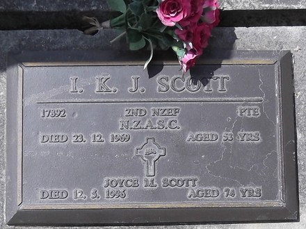Headstone of Pte Ian James Kennedy SCOTT 17892. Andersons Bay RSA Cemetery, Dunedin City Council, Block 9A, Plot 26. Image kindly provided by Allan Steel CC-BY 4.0.