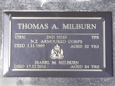Headstone of Tpr Thomas Arthur MILBURN 17850. Port Chalmers RSA Cemetery, Dunedin City Council, Block 1A, Plot 2. Image kindly provided by Allan Steel CC-BY 4.0.
