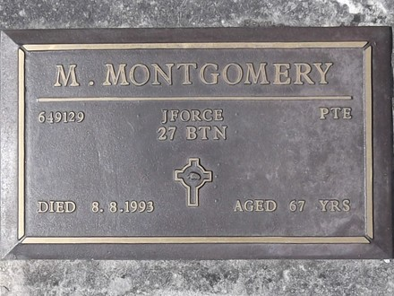 Headstone of Pte Murray MONTGOMERY 649129. Port Chalmers RSA Cemetery, Dunedin City Council, Block 1A38. Image kindly provided by Allan Steel CC-BY 4.0.
