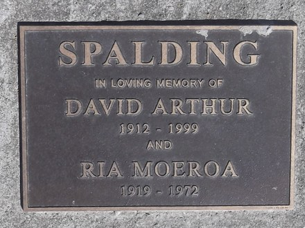 Headstone of Pte David Arthur SPALDING 15606. Puketeraki Cemetery, Block 1, Plot 1. Image kindly provided by Allan Steel CC-BY 4.0.