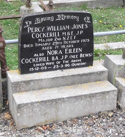 Headstone of Major Percy William Jones COCKERILL 600669. St Johns, Waikouaiti Cemetery, Block 3, Plot 5. Image kindly provided by Allan Steel CC-BY 4.0.