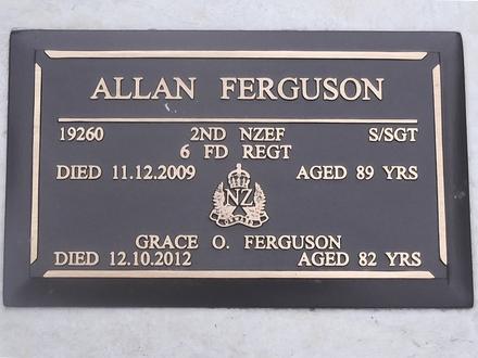 Headstone of S/Sgt Allan FERGUSON 19260. West Taieri Cemetery, Dunedin City Council, Block 34, Plot 25. Image kindly provided by Allan Steel CC-BY 4.0.