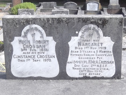 Headstone of Cpl Hugh Mcarthur CROSSAN 15447. Andersons Bay General Cemetery, Dunedin City Council, Block 4089. Image kindly provided by Allan Steel CC-BY 4.0.