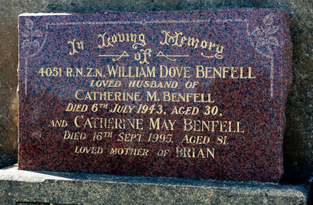 Headstone of Ld Rad Me William Dove BENFELL 4051. Andersons Bay General Cemetery, Dunedin City Council, Block 17240. Image kindly provided by Allan Steel CC-BY 4.0.