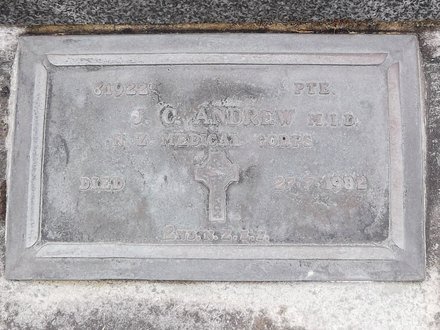 Headstone of Pte John Charles ANDREW 31922. Andersons Bay General Cemetery, Dunedin City Council, Block 21253. Image kindly provided by Allan Steel CC-BY 4.0.