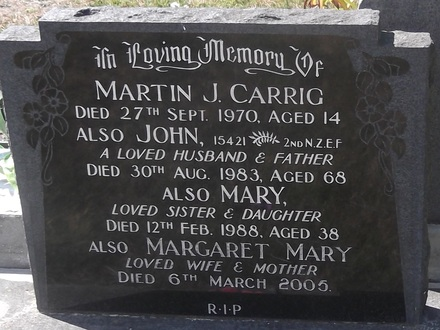 Headstone of Pte John Martin CARRIG 15421. Andersons Bay General Cemetery, Dunedin City Council, Block 25974. Image kindly provided by Allan Steel CC-BY 4.0.