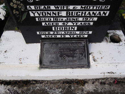 Headstone of Pte William George BUCHANAN 10532. Andersons Bay General Cemetery, Dunedin City Council, Block 26668. Image kindly provided by Allan Steel CC-BY 4.0.