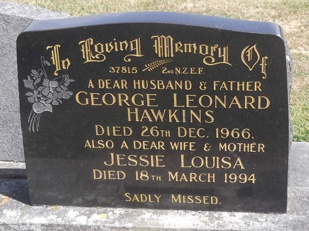 Headstone of Dvr George Leonard HAWKINS 37815. Andersons Bay General Cemetery, Dunedin City Council, Block 274, Plot 61. Image kindly provided by Allan Steel CC-BY 4.0.